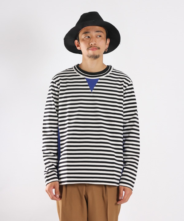 CONFUSED LS BORDER TEE【CURLY / カーリー】■SALE■(ブルー-1)