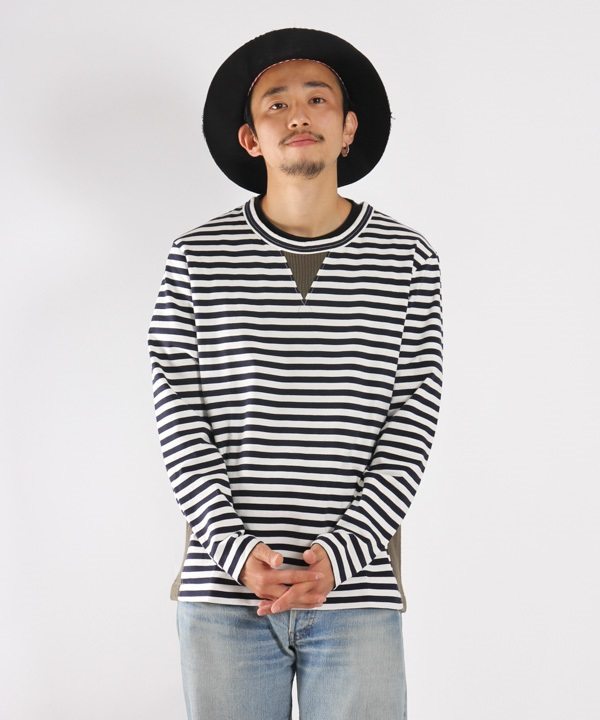 CONFUSED LS BORDER TEE【CURLY / カーリー】■SALE■(オリーブ-1)