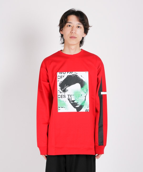 Face PRT Long T-Shirts 【ARCHON/アルコン】(レッド-M)
