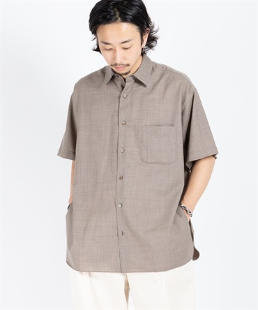 COMFORT FIT SHIRT S/S - SUPER 120's WOOL TROPICAL 【 MARKAWARE / マーカウェア 】