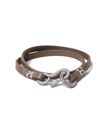 Shrink Leather Bracelet with Brass Hook シュリンク レザー ブレスレット ブラスフック【hobo / ホーボー】