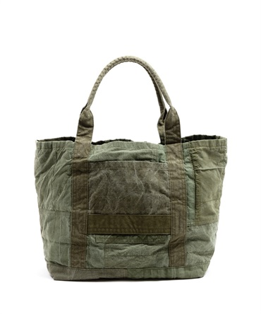 COTTON US ARMY CLOTH PATCHWORK TOTE BAG M 【 hobo / ホーボー 】
