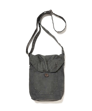 COTTON TWILL CHARCOAL DYED SHOULDER BAG 【 hobo / ホーボー 】