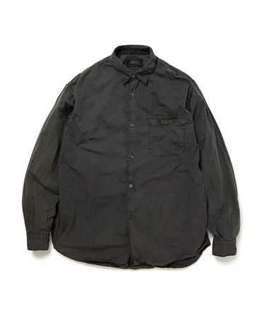 COTTON BROAD CHARCOAL DYED LS SHIRT 【 hobo / ホーボー 】