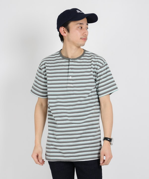 DWELLER HENLEY NECK S/S TEE COTTON JERSEY BORDER【nonnative / ノンネイティブ】■SALE■(グレー-1)