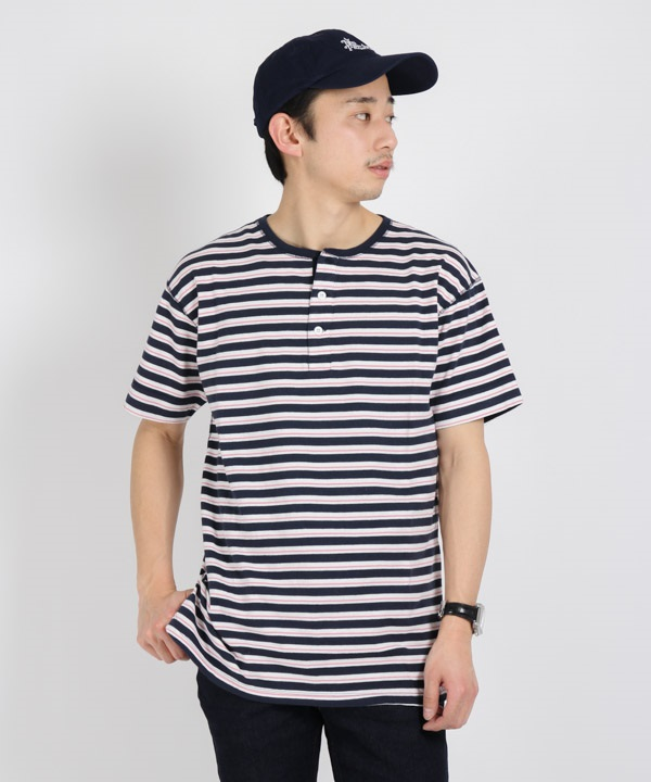 DWELLER HENLEY NECK S/S TEE COTTON JERSEY BORDER【nonnative / ノンネイティブ】■SALE■(ネイビー-1)