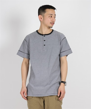 DWELLER HENLEY NECK S/S TEE COTTON JERSEY BORDER【nonnative / ノンネイティブ】■SALE■