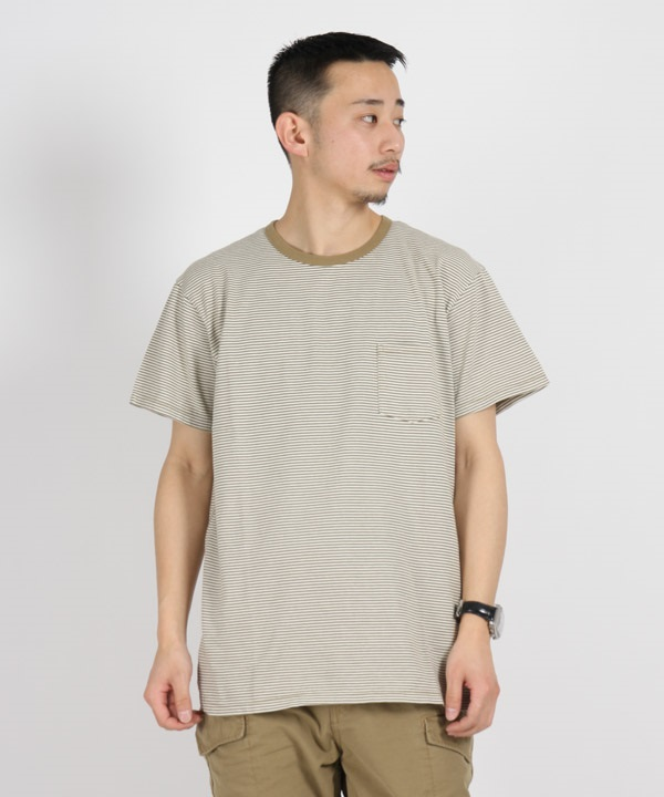 DWELLER S/S TEE COTTON JERSEY BORDER【nonnative / ノンネイティブ】■SALE■(ベージュ-1)