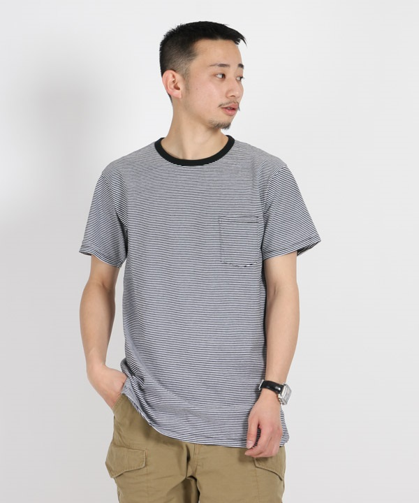 DWELLER S/S TEE COTTON JERSEY BORDER【nonnative / ノンネイティブ】■SALE■(ブラック-1)