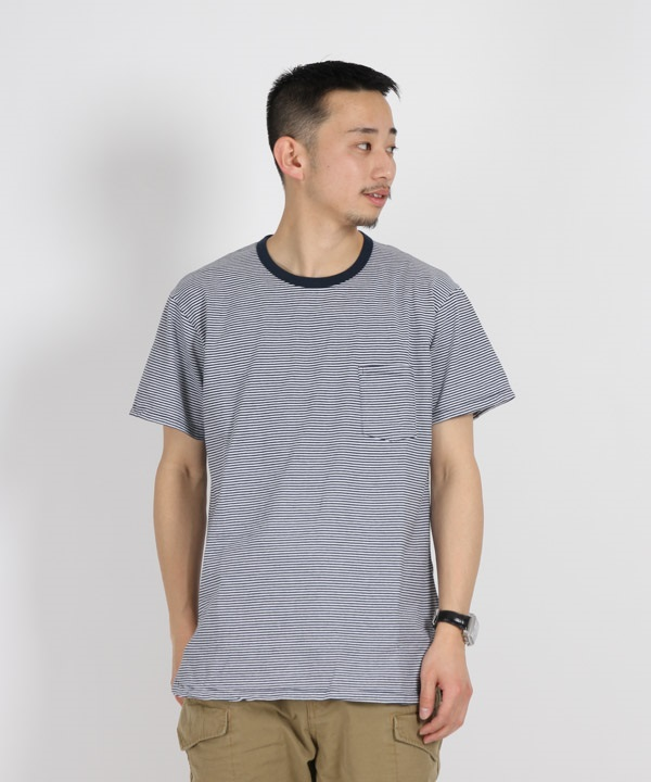 DWELLER S/S TEE COTTON JERSEY BORDER【nonnative / ノンネイティブ】■SALE■(ネイビー-1)