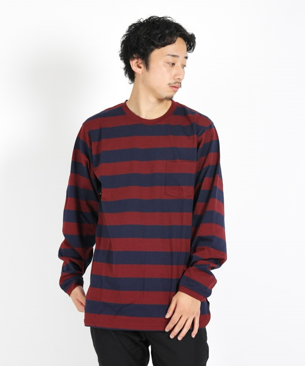 DWELLER L/S TEE COTTON JERSEY WIDE BORDER 【nonnative / ノンネイティブ】(ネイビー×ボルドー-1)
