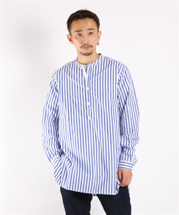 OFFICER PULLOVER SHIRT COTTON BROAD LONDON STRIPE【nonnative / ノンネイティブ】■SALE■