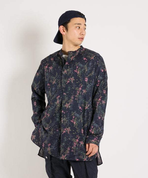 SCIENTIST PULLOVER LONG SHIRT COTTON LAWN LIBERTY PRINT【nonnative / ノンネイティブ】■SALE■(ネイビー-1)