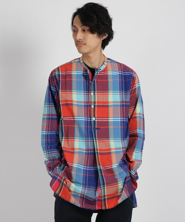 SCIENTIST PULLOVER LONG SHIRT R/P MADRAS PLAID【nonnative / ノンネイティブ】■SALE■(レッド-1)