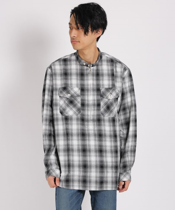 WORKER PULLOVER SHIRT RELAXED FIT COTTON OMBRE PLAID【nonnative / ノンネイティブ】■SALE■(ブラック-1)