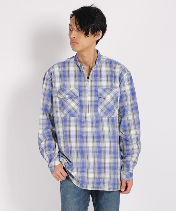 WORKER PULLOVER SHIRT RELAXED FIT COTTON OMBRE PLAID【nonnative / ノンネイティブ】■SALE■(ブルー-1)