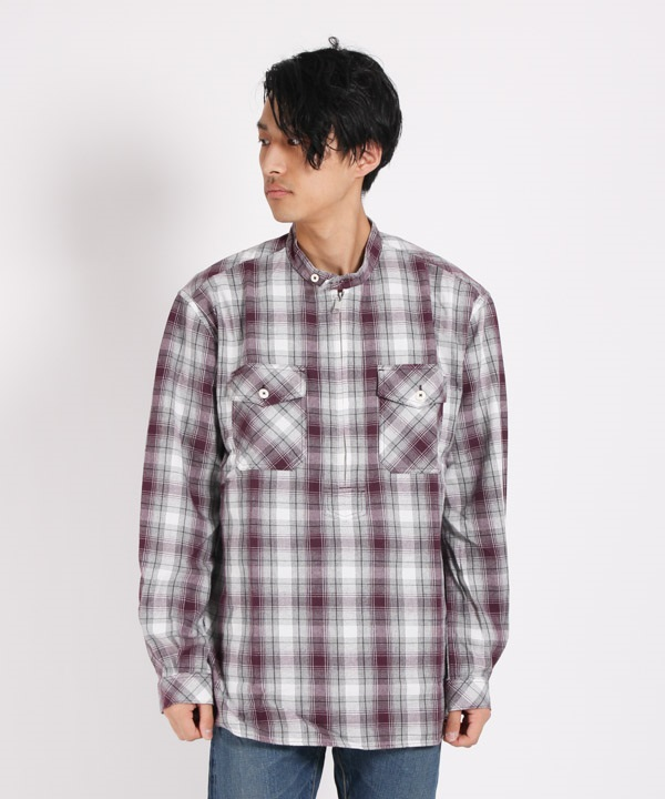 WORKER PULLOVER SHIRT RELAXED FIT COTTON OMBRE PLAID【nonnative / ノンネイティブ】■SALE■(ボルドー-1)