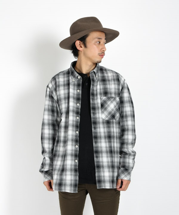 DWELLER B.D. SHIRT RELAXED FIT COTTON OMBRE PLAID 【 nonnative / ノンネイティブ 】(ブラック-1)
