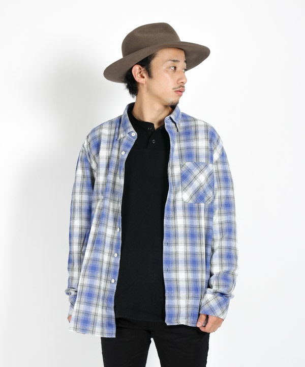 DWELLER B.D. SHIRT RELAXED FIT COTTON OMBRE PLAID 【 nonnative / ノンネイティブ 】(ブルー-1)