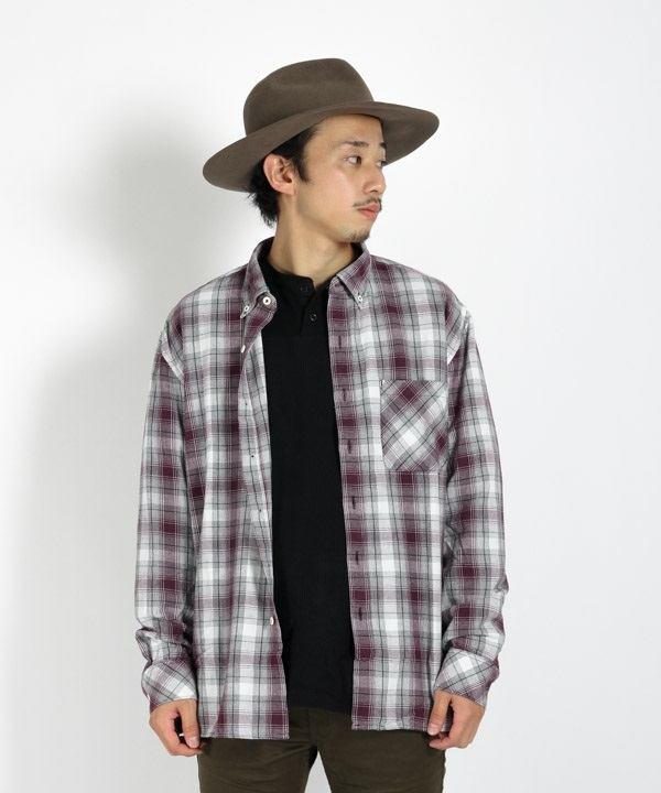 DWELLER B.D. SHIRT RELAXED FIT COTTON OMBRE PLAID 【 nonnative / ノンネイティブ 】(ボルドー-1)