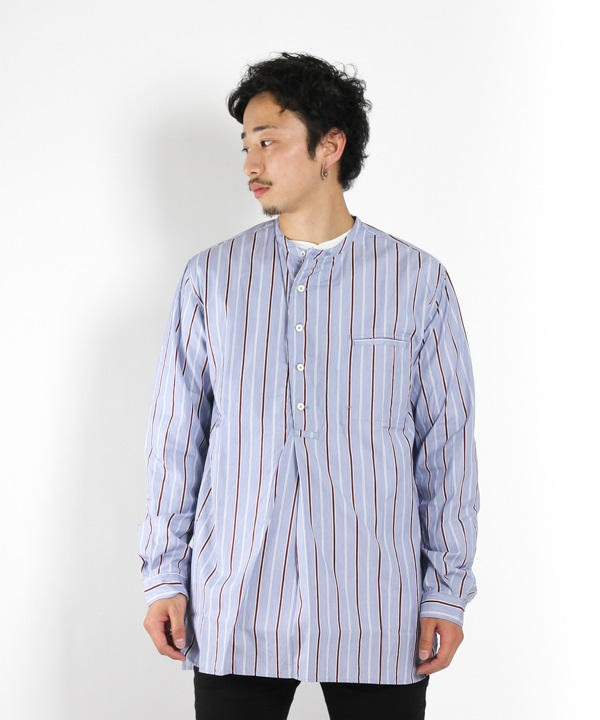 SCIENTIST PULLOVER SHIRT COTTON SATIN MULTI STRIPE【nonnative / ノンネイティブ】(ブルー-1)