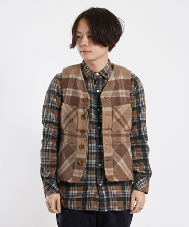 【nonnative】 FARMER 2WAY VEST W/N BEAVER CHECK