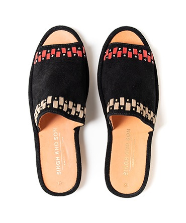 LOUNGE SLIDES PERSIAN WEAVE MULTI W/ STUDS LEATHER SOLE 【 SINGH AND SON / シンアンドサン 】