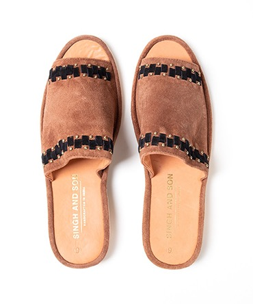 LOUNGE SLIDES PERSIAN WEAVE TWO TONE W/ STUDS LEATHER SOLE 【 SINGH AND SON / シンアンドサン 】