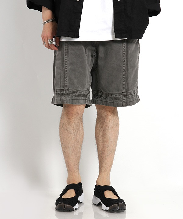 WM×Gramicci GARMENT DYED TRIPLE NEEDLE STITCH SHORTS 【White Mountaineering / ホワイトマウンテニアリング】■SALE■(ブラック-1)