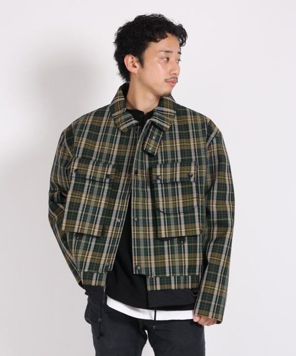 PERTEX SHIELD PRO CHECK 3L SHORT JACKET 【White Mountaineering / ホワイトマウンテニアリング】■SALE■(グリーン-1)