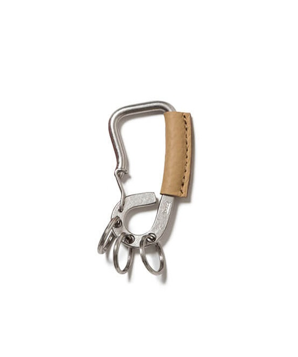 Brass Carabiner Key Ring with Shrink Leather ブラス カラビナ ウィズ シュリンクレザー【hobo / ホーボー】