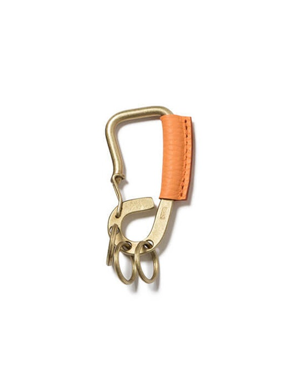 Brass Carabiner Key Ring with Shrink Leather ブラス カラビナ ウィズ シュリンクレザー【hobo / ホーボー】(オレンジ-F)